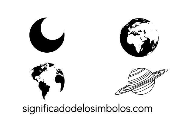 Luna y tierra símbolos planetarios