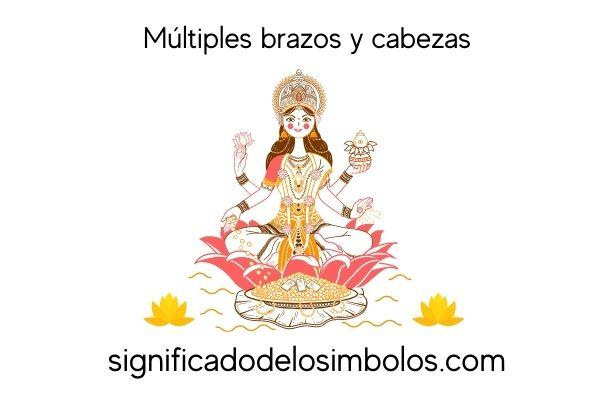 símbolos hindúes multiples brazos y cabezas